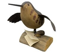 Vintage HAND CARVED WOOD Richard Morgan WOODCOCK W/CHICK The Painted Bird