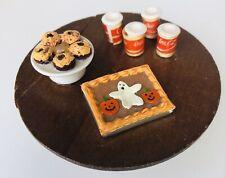 Vtg Artisan Dollhouse Miniature Halloween Party Table Ghost Cake Coke Treats
