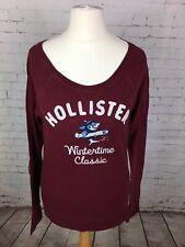 Hollister Women's Burgundy Long Sleeve Top T-shirt Size LARGE