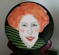 Lady Portrait Hand Panted on Charger Plate UNIQUE Signed by Artist Cody