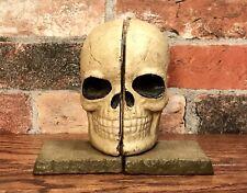 Pair of Cast Iron Split Full Skeleton Skull Head Bookends