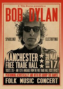 Bob Dylan 'Judas' Concert Poster Reproduction Manchester Free Trade Hall 60s