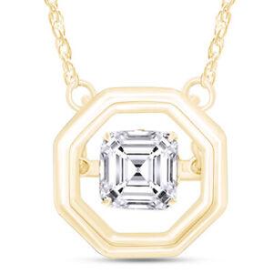 "Simulated Asscher Sapphire Dancing Pendant 14k Yellow Gold Over Chain 18"""