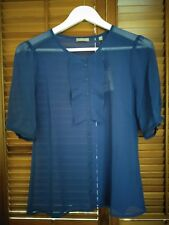 Jigsaw Ruffle Front Sheer Blouse in Cobalt Blue - Size 8 - RRP$195