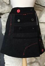 Desigual Black Multi Embellished Wool Viscose A-Line Wrap Lined Mini Skirt Sz 38