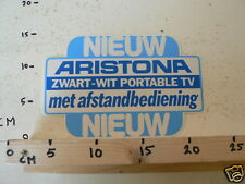 STICKER,DECAL ARISTONA ZWART-WIT PORTABLE TV NIEUW LARGE