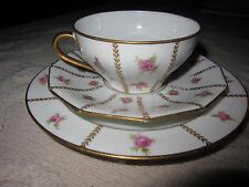 Vtg Limoges French bone china tea cup saucer & plate trio, white w pink roses