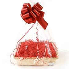 Clear Cellophane Hamper Bag 55 x 70cm & Shred Red Bow Shrink Wrappable No Basket