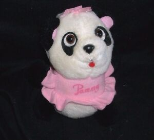 "5"" VINTAGE 1981 PAMMY SHIRT TALES PANDA TEDDY BEAR STUFFED ANIMAL PLUSH TOY DOLL"