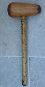 VINTAGE-ANTIQUE-WOODEN PLUMBERS LEAD DRESSING HAMMER- 13 inches LONG