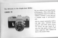 "VINTAGE ""CANON FX SINGLE LENS REFLEX & CANENET S  SPECIFICATION  LEAFLET"