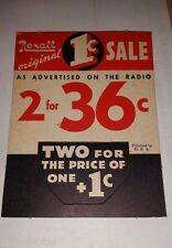 "REXALL DRUG STORE PHARMACY SM TAG PRICE SIGN 1¢ SALE CARDBOARD DISPLAY 3.5""X4.5"""
