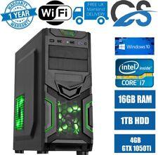 ULTRA FAST Gaming PC Intel Core i7 16GB RAM 1TB Windows 10 4GB GTX 1050Ti