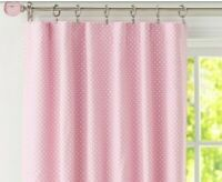 Pair of Pottery Barn Kids Dotted Blackout Curtain Panels Pink Rod Pocket 44 x 63