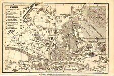 Stampa antica COIRA CHUR Svizzera Pianta 1905 Old Print Switzerland Old map
