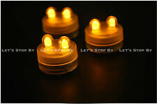 20 AMBER SUPER Bright Dual LED Tea Light Submersible Floralyte Party Wedding