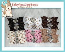 ~BabyRou~ 12 Dog Premium Grooming Pet Bows (Designer Ribbon with Bling Bling)