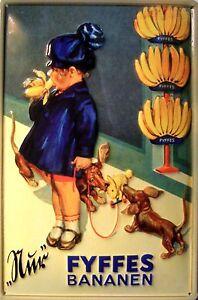 Fyffes Bananen Mädchen Blechschild Schild Blech Metall Metal Tin Sign 20 x 30 cm