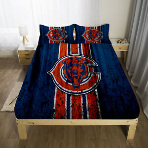 Chicago Bears Football Fitted Sheet 3PCS Bed Sheets & Pillowcase Bedding Sets