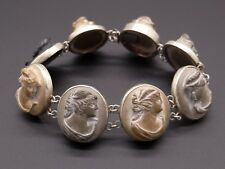 Sterling Silver Carved Stone Lava Cameo Portrait Link Bracelet 7.25 inches