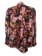 KAREN MILLEN Red  floral print black Chiffon  blouse dress shirt U.K. 6