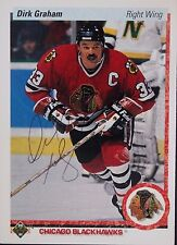 Dirk Graham Blackhawks Autographed 1990 Upper Deck #131 B Hockey Card JSA 16H