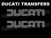 Ducati Classic Tank Transfers Decals Stickers Motorcycle Sold as a Pair Silver