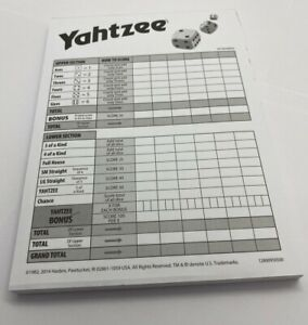 Yahtzee Score Card Pad of 80 Sheets New