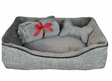 """La Ti Paw 25"""" x 19"""" Pet Bed Gift Set 3 Piece Set includes Pet Bed Throw & Toy"""