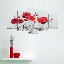 5Pcs Red Flower Modern Canvas Print Painting Wall Art Picture Decor Unframed