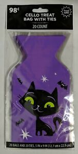 Halloween Black Cat Purple Cello Treat Bags with Ties 20 Count - Sealed!