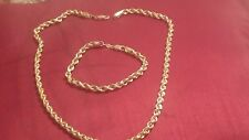 "Vintage 14k yellow gold 17"" rope chain necklace and bracelet15 gr made in Peru"
