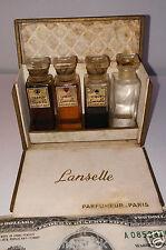 Vintage perfume Les 4 As de LANSELLE 250 PARFUMEUR mini glass bottles box PARIS