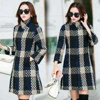 Elegant Women's Slim Woolen Collarless Tweed Thread Jacket Ladies Coat XS-XL