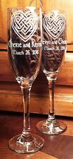 Celtic Heart Claret Champagne Flutes Toasting Glasses Personalized