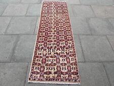 Old tradizionale fatto a mano Tappeto Persiano Orientale Panna Lana CORTO RUNNER 220x72cm