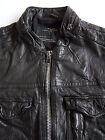 All Saints Command Leather Jacket Men's XL Extra Large Skinny Vintage ALS269 #