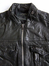All Saints Command Leather Jacket Men's XL Extra Large Skinny Vintage ALS269 #