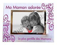 """Cadre photo """"Maman Adorée"""" à poser horizontal en verre idée cadeau original neuf"""