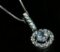 1.15Ct Round Cut VVS1/D Diamond Halo Pendant 14K White Gold Finish Free Chain