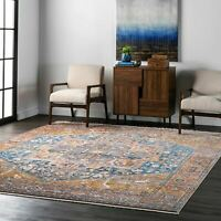 nuLOOM Traditional Vintage Medallion Fringe Area Rug in Rust Orange, Blue
