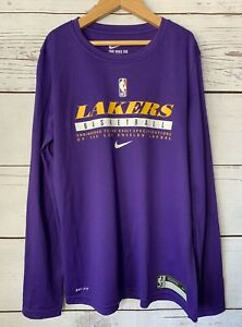 Los Angeles Lakers Nike Tee Long Sleeve Dri Fit Shirt Size Youth Medium
