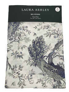 NEW Laura Ashley Belvedere Green Peacock Bird Floral Window Curtains 38x84 2PC