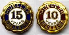10K Solid Gold Enamel Mueller 10 and 15 Years Service Pins