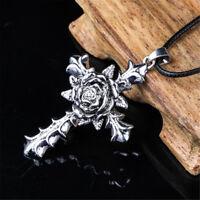 Fashion Silver Alloy Cross Rose Retro Pendant Necklace Unisex's Jewelry Gift