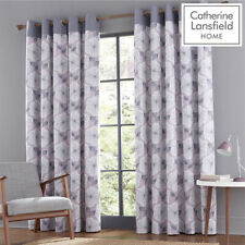 Catherine Lansfield Retro Floral Eyelet Curtains 66 x 72 Inch - Heather