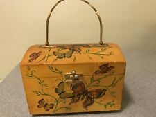 VINTAGE HANDMADE BOX PURSE DECOPAUGED YELLOW WOOD WITH BUTTERFLIES AND WILD FLOW