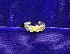 New Hawaiian Silver 2-Tone 6Mm Toe Ring Plumeria & Scroll Design