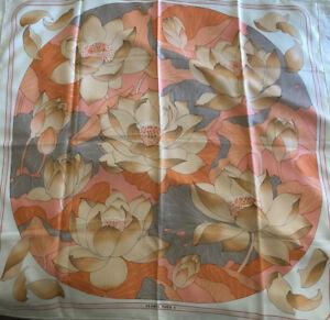 "Vintage Hermes Scarf ""Fleurs de Lotus"" by Christiane Vauzelles in Coral"