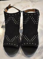Espirit Size 10 Womens Shoes Black Suede Chunky Heels Studded Peep Toe